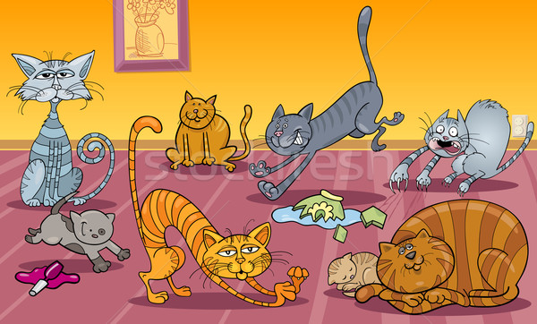 many cats at home Stock photo © izakowski