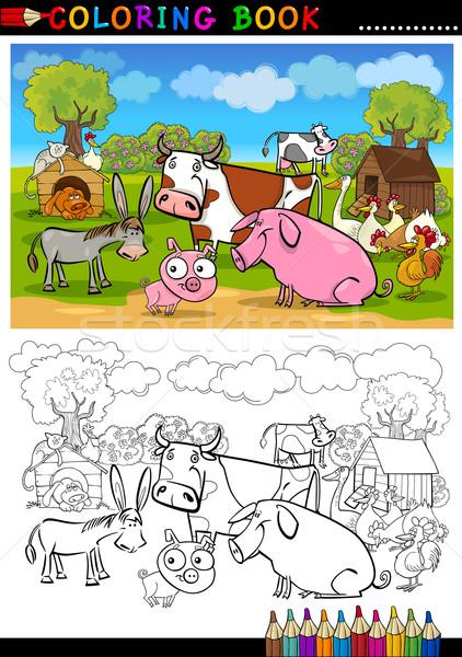 çiftlik Hayvanlar Boyama Kitabı Sayfa Karikatür örnek