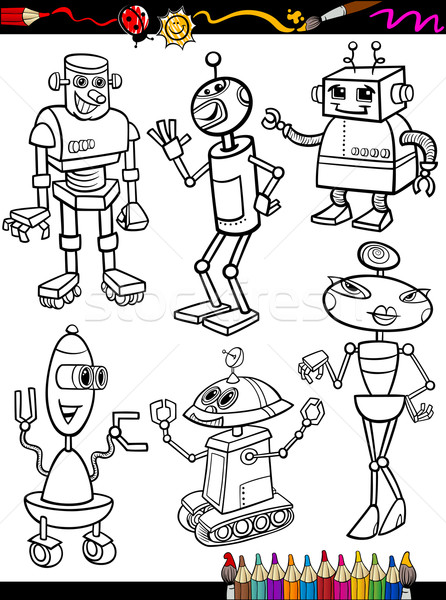Robots Cartoon Set for coloring book Stock photo © izakowski