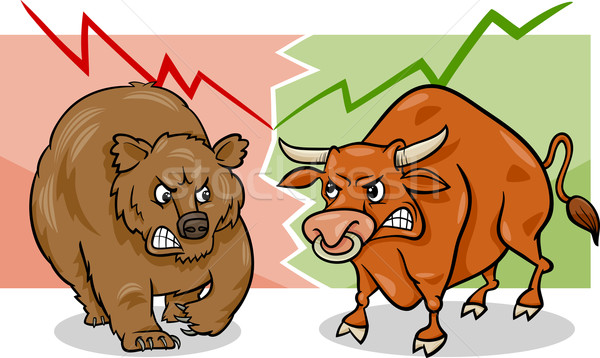 bear and bull market cartoon Stock photo © izakowski