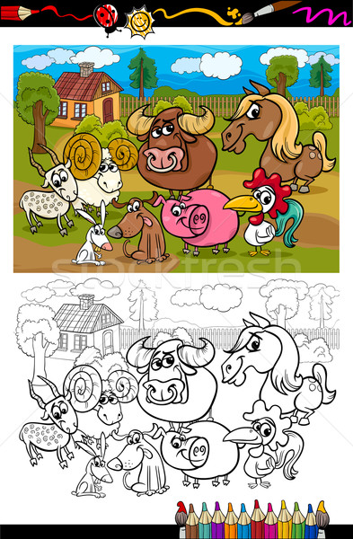 cartoon farm animals for coloring book Stock photo © izakowski