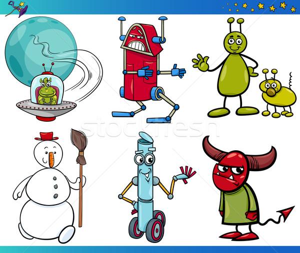 Stock photo: Cartoon Fantasy Characters Set