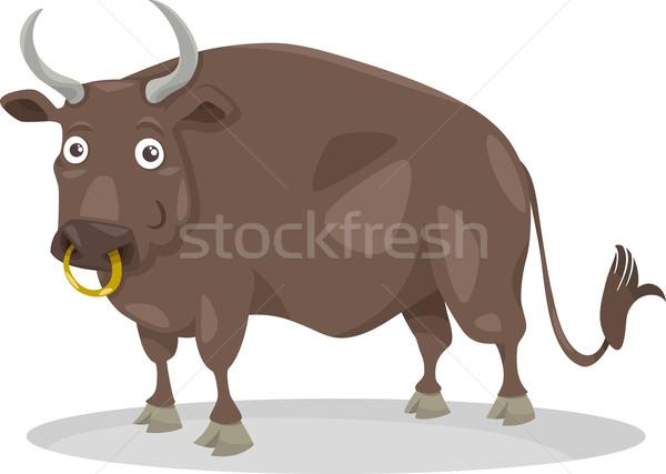 bull farm animal cartoon illustration Stock photo © izakowski