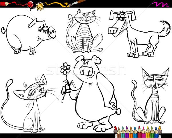 Hayvanlar Ayarlamak Karikatür Sayfa Boyama Kitabı Kroki