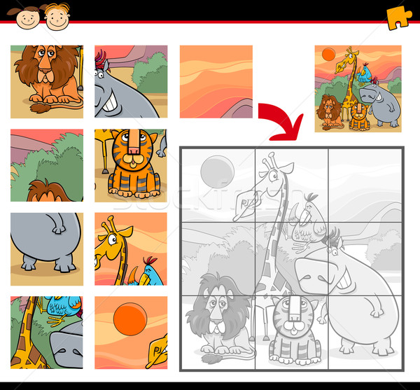 Cartoon safari dieren spel illustratie onderwijs Stockfoto © izakowski
