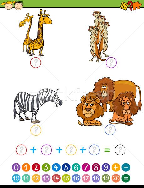 Wiskundig onderwijs taak cartoon illustratie onderwijs Stockfoto © izakowski