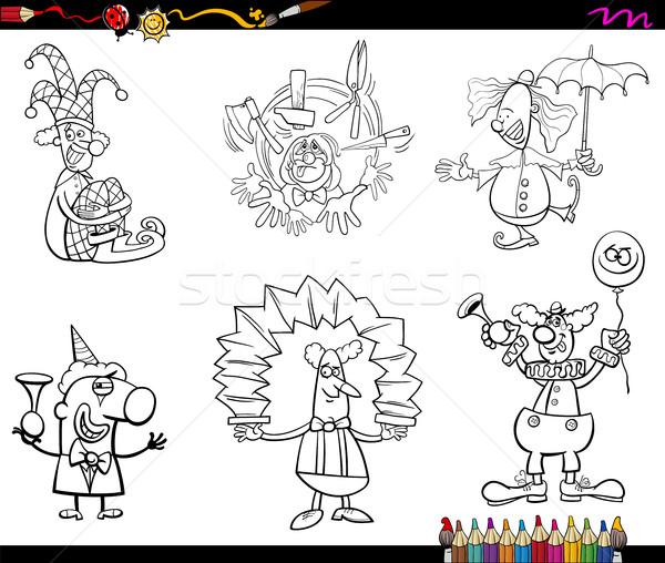 clowns set coloring book Stock photo © izakowski