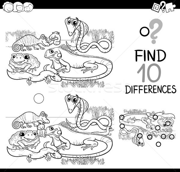 Animais diferenças jogo preto e branco desenho animado ilustração Foto stock © izakowski