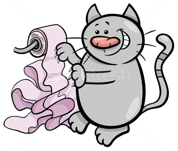 Cat giocare carta igienica cartoon illustrazione giocare Foto d'archivio © izakowski