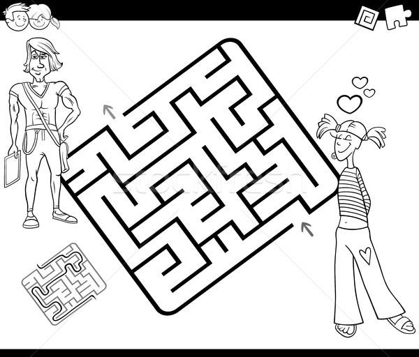 Laberinto actividad juego blanco negro Cartoon Foto stock © izakowski