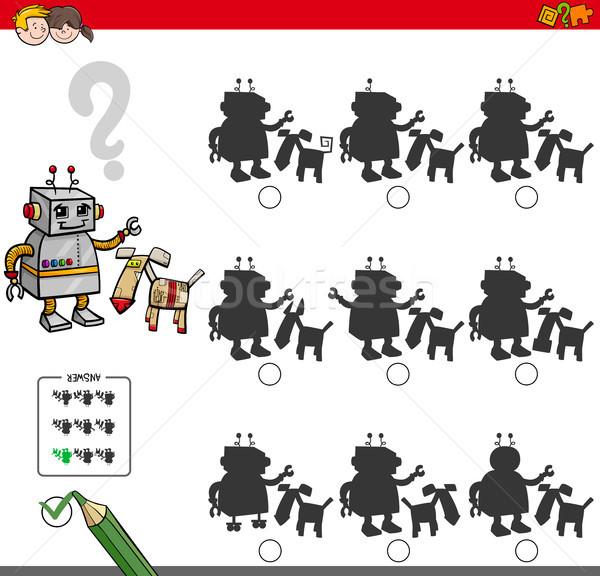 Oktatási árnyék játék robot betűk rajz Stock fotó © izakowski