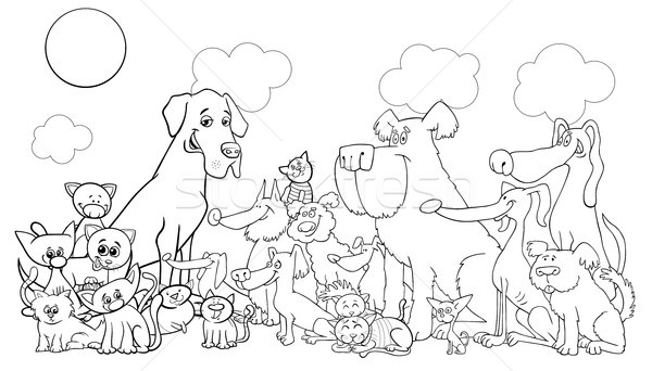 Stock photo: cartoon funny dog and cats coloring book