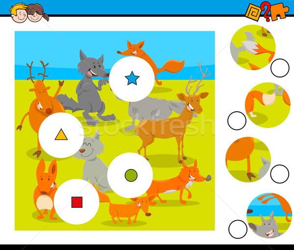Wedstrijd stukken puzzel wilde dieren groep cartoon Stockfoto © izakowski