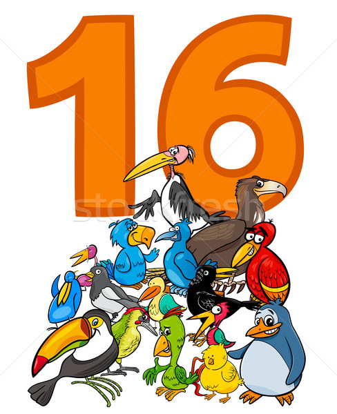 number sixteen and cartoon birds group Stock photo © izakowski