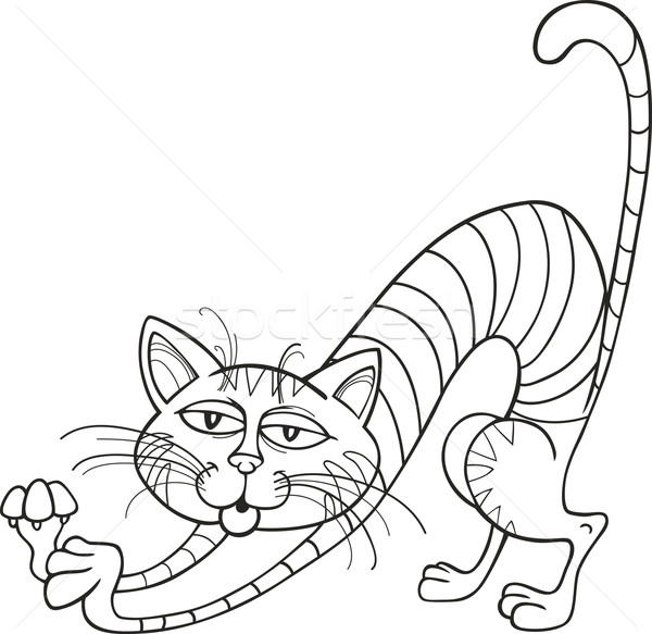 Cat stretching for coloring book Stock photo © izakowski