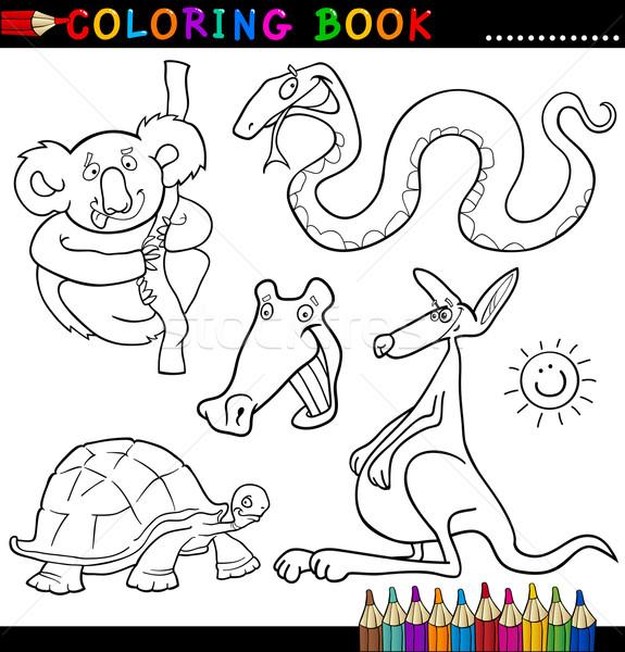 Animais livro para colorir página desenho animado ilustração engraçado Foto stock © izakowski