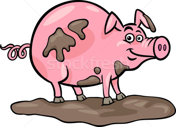 pig farm animal cartoon illustration Stock photo © izakowski