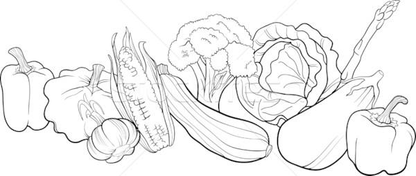 Sebze Grup örnek Boyama Kitabı Siyah Beyaz Karikatür