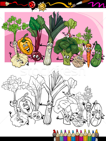 Stock photo: funny vegetables cartoon for coloring book