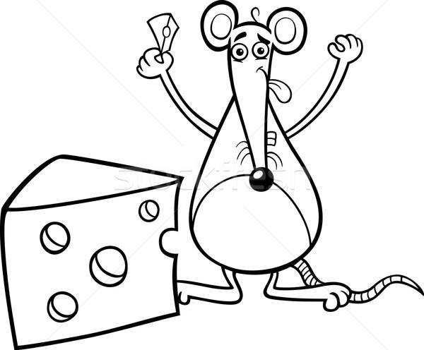 Stok fotoğraf: Fare · peynir · sayfa · siyah · beyaz · karikatür · örnek
