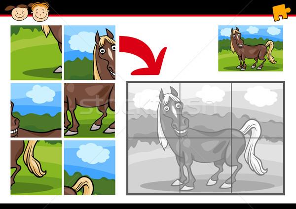 cartoon horse jigsaw puzzle game Stock photo © izakowski