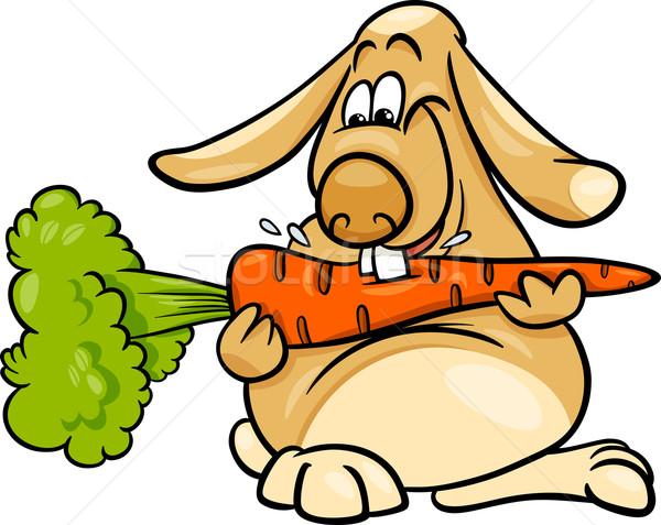 lop rabbit with carrot cartoon Stock photo © izakowski