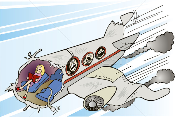 Calm girl and plane crush Stock photo © izakowski