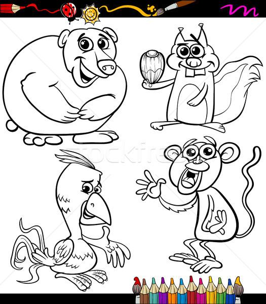 Animali set cartoon libro da colorare pagina illustrazione Foto d'archivio © izakowski