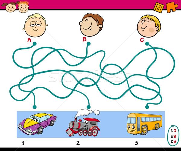 Odnaleźć ścieżka zadanie dzieci cartoon ilustracja Zdjęcia stock © izakowski