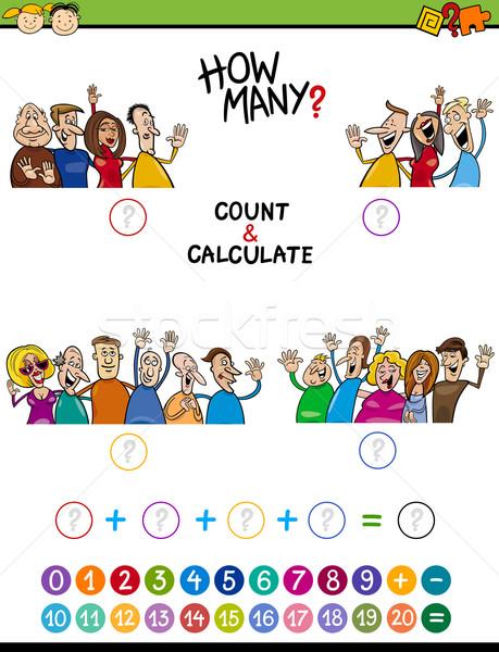 Stock foto: Math · Aufgabe · Vorschule · Kinder · Karikatur · Illustration
