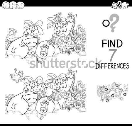 Foto stock: Diferencias · tarea · blanco · negro · Cartoon · ilustración