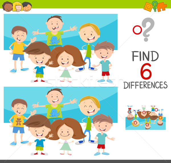 spot the differences with kids Stock photo © izakowski