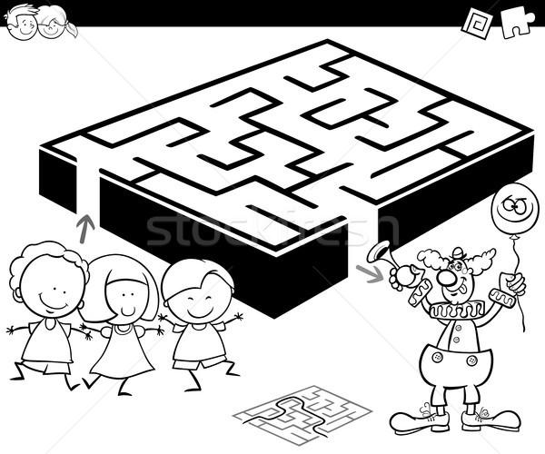 Labirintus gyerekek bohóc rajz illusztráció oktatás Stock fotó © izakowski
