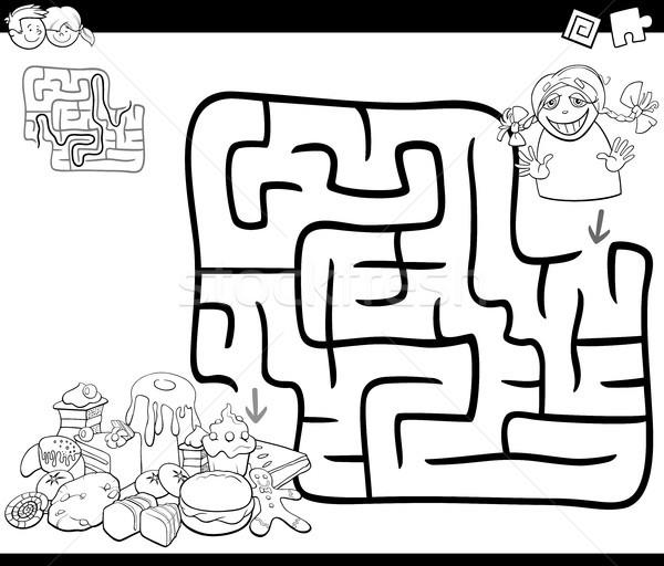 Labirinto attività gioco ragazza dolci bianco nero Foto d'archivio © izakowski