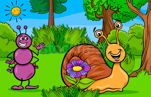 Formiga caracol animal desenho animado ilustração Foto stock © izakowski