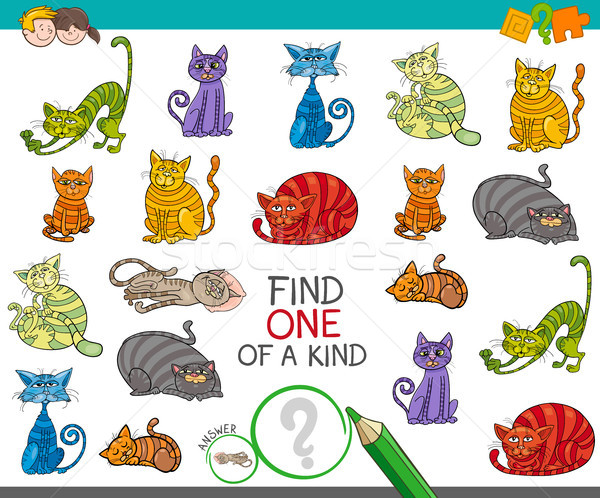 find one picture of a kind game with cartoon cats Stock photo © izakowski