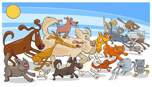 cartoon running dog and cats group Stock photo © izakowski