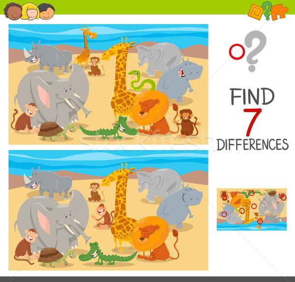 differences puzzle with animal characters Stock photo © izakowski