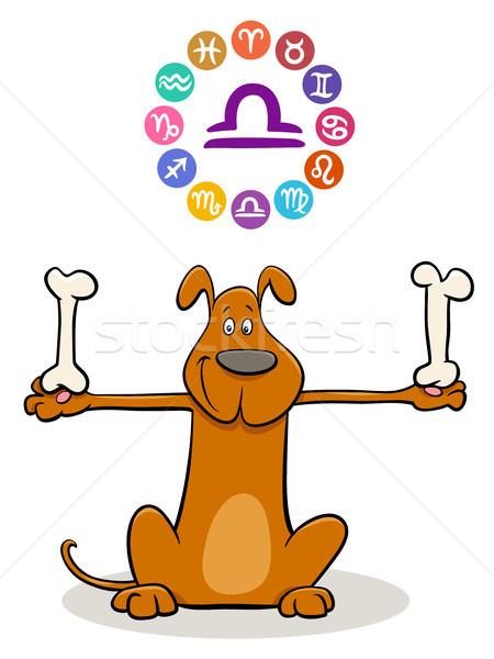 Libra Zodiac sign with cartoon dog Stock photo © izakowski