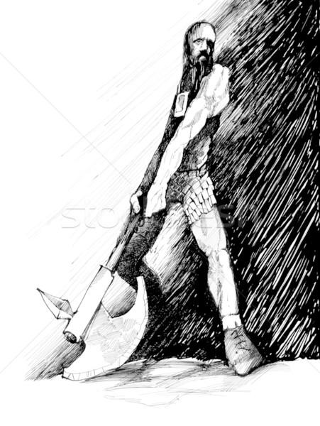 ancient fantasy warrior with axe Stock photo © izakowski
