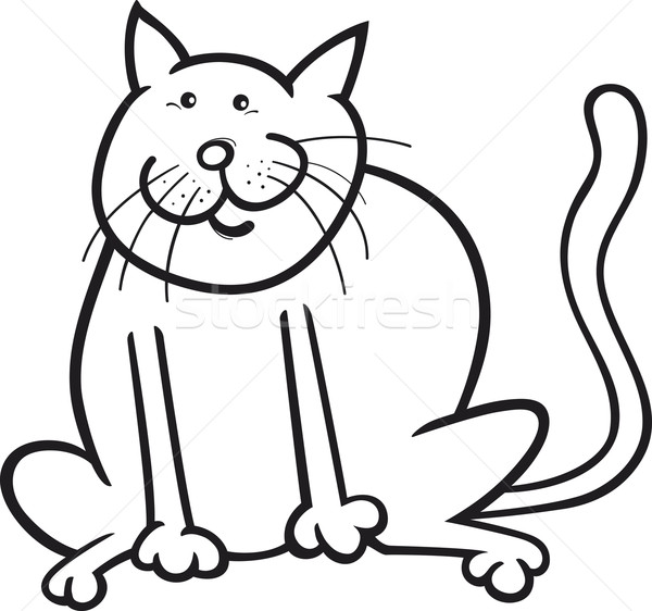 Funny cat coloring page Stock photo © izakowski