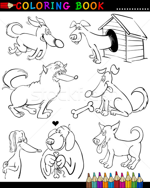 Cartoon chiens livre de coloriage page illustration drôle Photo stock © izakowski