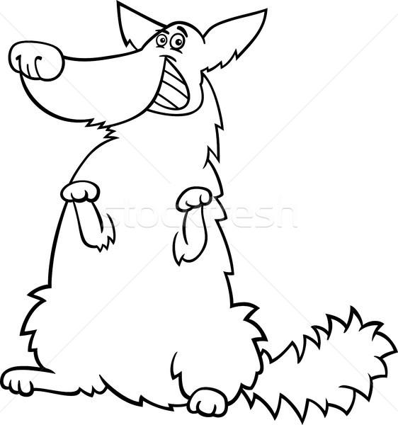 Boldog kócos kutya rajz kifestőkönyv feketefehér Stock fotó © izakowski