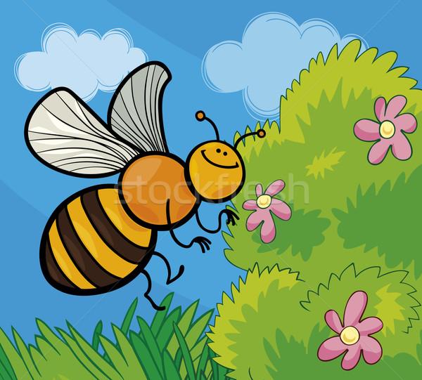 пчелиного меда Cartoon иллюстрация смешные луговой счастливым Сток-фото © izakowski