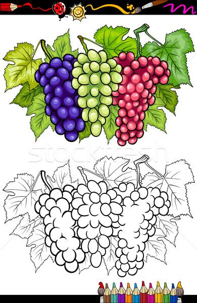 üzüm Meyve örnek Boyama Kitabı Sayfa Karikatür Vektör