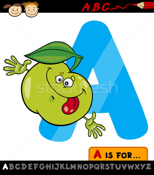 letter a with apple cartoon illustration Stock photo © izakowski