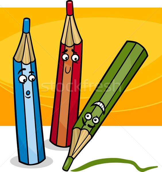 Funny kredki cartoon ilustracja kolorowy obiektów Zdjęcia stock © izakowski