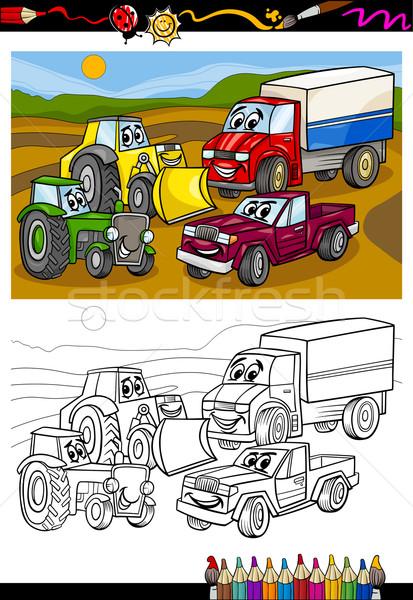 Foto stock: Cartoon · coches · camiones · libro · para · colorear · página · ilustración