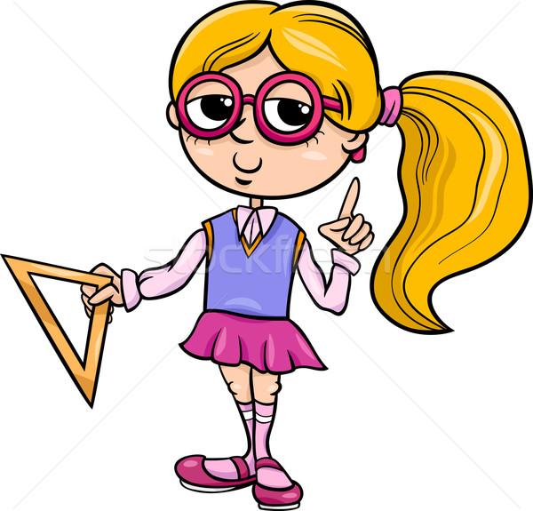 начальная школа девушки Cartoon иллюстрация студент Сток-фото © izakowski