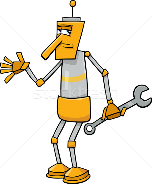 robot with wrench cartoon illustration Stock photo © izakowski
